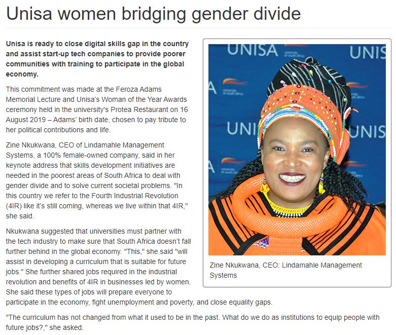 Lindamahle CEO addressing Unisa on gender disparities and skills development.